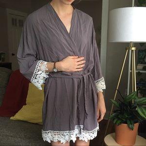 Gray Lacy Bridesmaid Robe